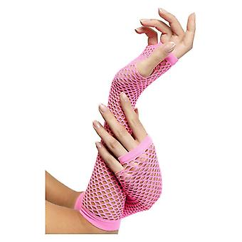Womens Pink Fishnet Gloves Fancy Dress Accessory