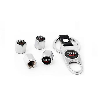 Set of 4 Chrome Anti-Theft Car Tyre Air Dust Valve Stem Cap With Keyring Spanner For Audi Sline