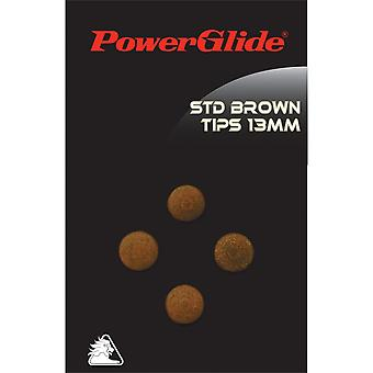 Powerglide Snooker & Pool Accessories Brown Leather Cue Tips - 13mm 4 Pack