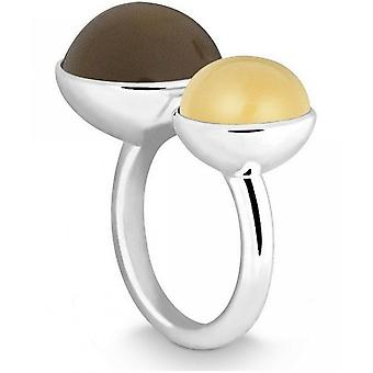 Quinn - Silver Ring with Smoky Quartz and Citrine, Candy_End - 021058632