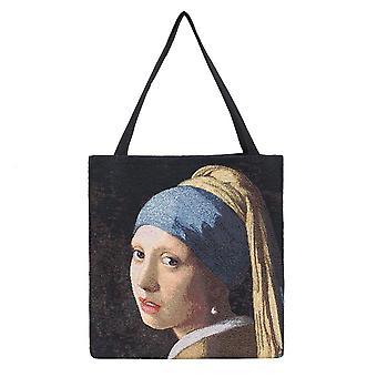 Vermeer - girl with a pearl earring shopper gusset bag by signare tapestry / guss-art-jv-girl