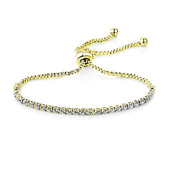 Gold solitaire friendship bracelet created with swarovski® crystals