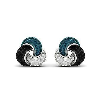 925 Hopea 0.22ct sininen, musta & valkoinen timantti rakkaus solmu korvakorut