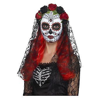Tag der Toten Senorita Maske mit Rosen & Schleier Halloween Zubehör