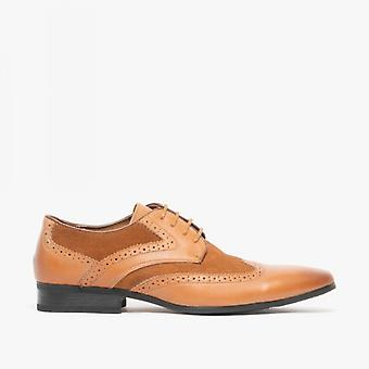 Front Turin Mens Leather Suede Brogue Shoes Tan/brown