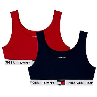 Tommy Hilfiger Girls 2 Pack Tommy 85 Bralette - Navy Blazer/Tango Red