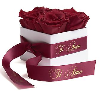 Flowers Box White Eternal Roses Durable 3 Years Dark Red Ti Amo Gift