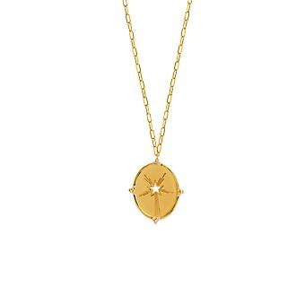 14k Yellow Gold 0.12 Dwt Diamond Star Medallion Adjustable Necklace 22 Inch Jewelry Gifts for Women