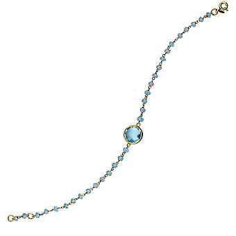 925 Sterling Silver Gold Flashed Blue Topaz Bead Bracelet With 10mm Center Adjustable 7.50 Inch Jewelry Gifts for Women