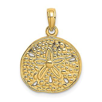 14k Gold Sanddollar Pendant Necklace 2 d And Cut out Notches Jewelry Gifts for Women - 2.6 Grams