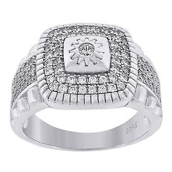 925 Sterling Silver Mens CZ Cubic Zirconia Gesimuleerde Diamond Cluster Square Head Fashion Ring Band Sieraden geschenken voor mannen