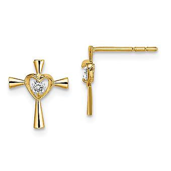 14k Madi K CZ Cubic Zirconia Simulated Diamond Religious Faith Cross With Love Heart Post Earrings Jewelry Gifts for Wom