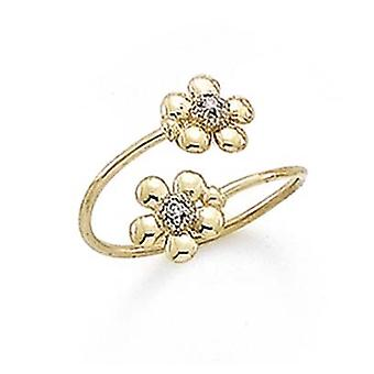 14k Yellow Gold Diamond Accent Double Daisy Toe Ring Jewelry Gifts for Women