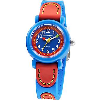 JACQUES FAREL Kids Wristwatch Analog Quartz Silicone Ribbon KFW 1000 Blue / Red