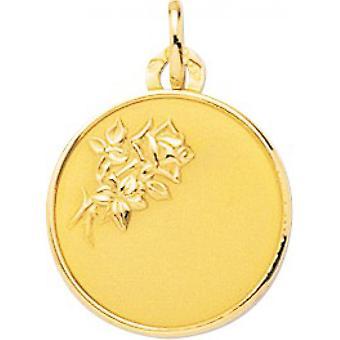 M daille rotondo fiore d'oro modello 750/1000 giallo (18K)