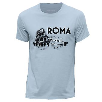 STUFF4 Herren Runde Hals T-Shirt/Rome Wahrzeichen Skizze/Himmelblau