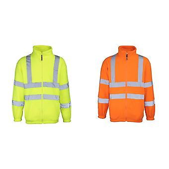 RTY High Visibility Mens High Vis Full Zip Fleece Jacket