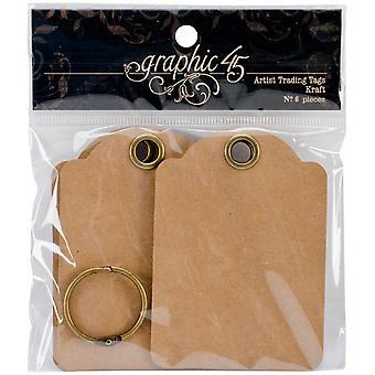 "Graphic 45 Staples Artist Trading Tag Album 3.5""X2.5"" - Kraft"