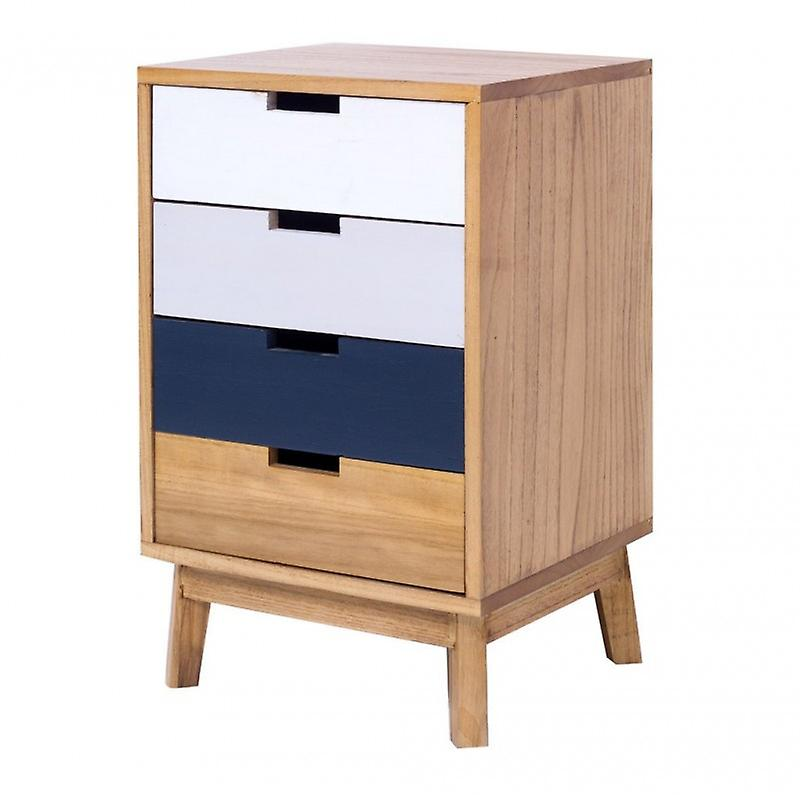 Rebecca meubles commode table de chevet 4 tiroirs brun bois entrée Hall