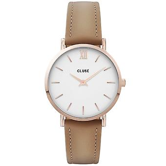 Cluse Watches Cw0101203014 Minuit White Dial, Rose Gold & Hazelnut Leather Ladies Watch