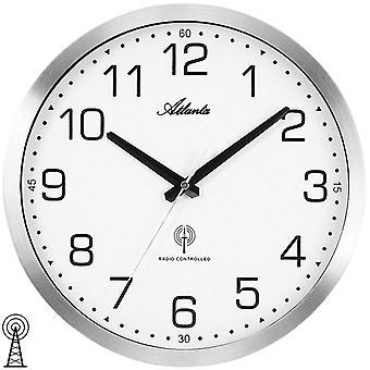 Atlanta 4371/0 Wall clock radio radio wall clock analog silver matt mattmatt