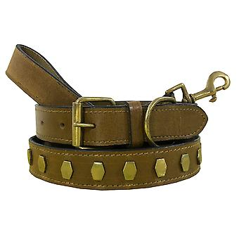Bradley crompton genuine leather matching pair dog collar and lead set bcdc9khakibrown