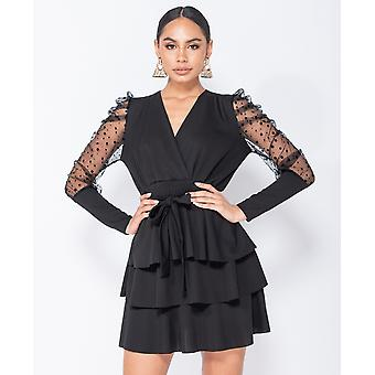 Polka Dot Mesh Sleeve Wrap - Tiered Detail Mini Dress - Black