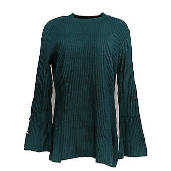 Du Jour Women's Sweater Mock Neck Bell-Sleeve Rib Knit Green A342322 PTC
