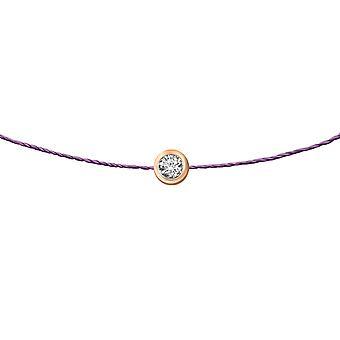 Choker Diamond Solitaire 0.15 karat 18K Altın, Thread - Rose Gold, ElectricPurple