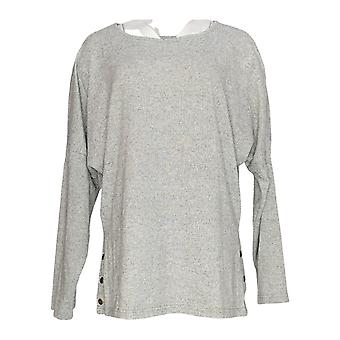 Magellan Women's 1X Long Sleeves Scoop Neck w/ Side Buttons Top Gray