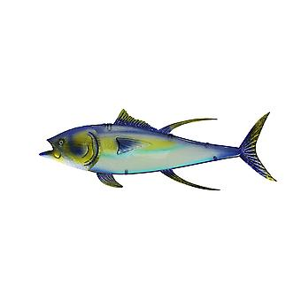 Metal and Glass Yellowfin Tuna Fish Wall Sculpture