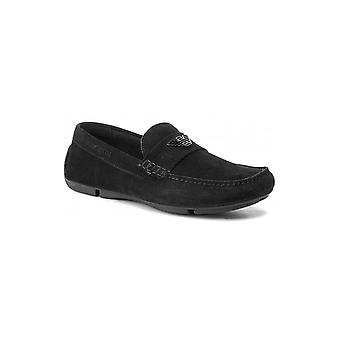 Emporio Armani X4b124 Xf188 Suede Black Loafers
