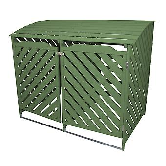 Double Wheelie Bin Storage Wooden Store Cover Garden Rubbish Dustbin Shed Green