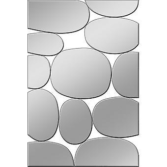 Specchio Stone Colore Cromo in MDF, Specchio, L60xP1,6xA90 cm