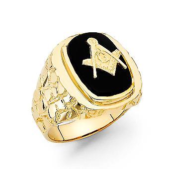 14k Žluté zlato Simulované Onyx Pánské Prsten Velikost 10 šperky Dárky pro muže - 9,0 gramů