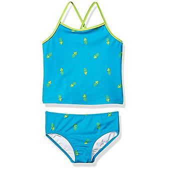 Essentials Girl's 2-Piece Tankini Set, Aqua Pineapples, X-Large
