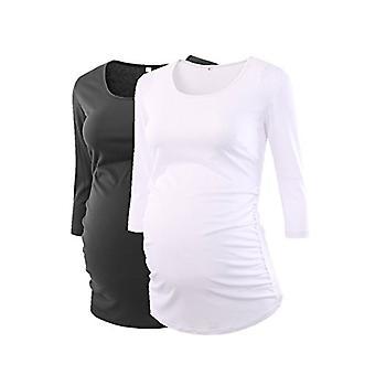 BBHoping Women's Maternity Tops Round Neck 3/4 Sleeve, Black White, Size Medium