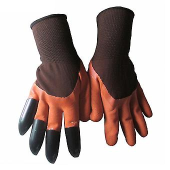 Waterproof Garden Mitten with 4 Claws Orange