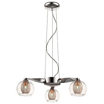 Lenteverlichting - 3 lichte plafondhanger met meerdere armen mesh chrome, koper, G9