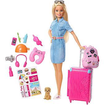 Barbie FWV25 baba és utazás szett kölyök