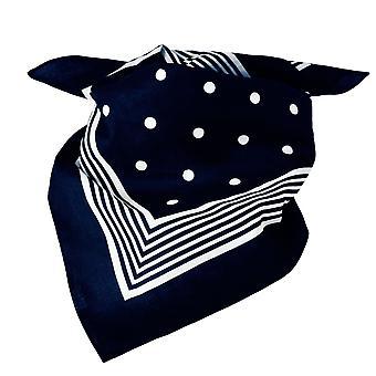 Ties Planet Navy Blue With White Stripes & Polka Dot Bandana Neckerchief