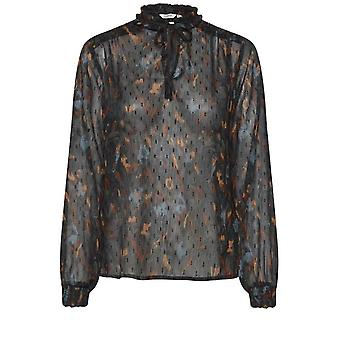 b.young Helmi Sheer Patterned Blouse