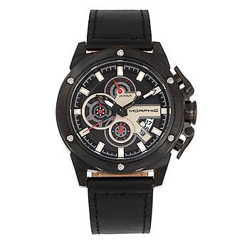 Morphic M81 Series Chronograph Leather-Band Watch w/Date - Noir
