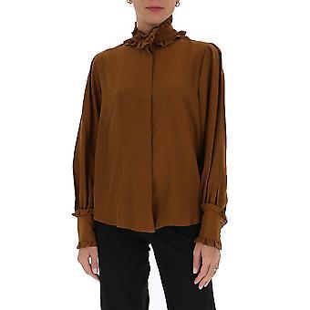 Victoria Beckham 1320wsh001532b Women's Brown Silk Blouse