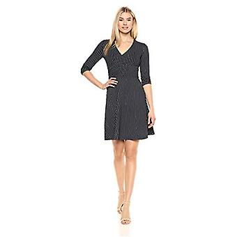 Brand - Lark & Ro Women's Three Quarter Sleeve Faux Wrap Dress