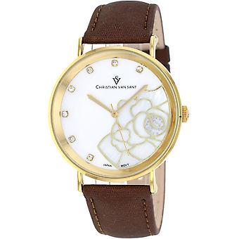 Christian Van Sant Frauen's Fleur White MOP Zifferblatt Uhr - CV2212