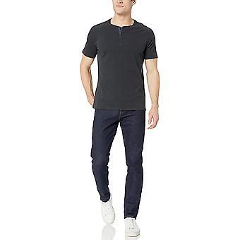 Goodthreads Men's Short-Sleeve Sueded Jersey Henley, Black, Large Tall