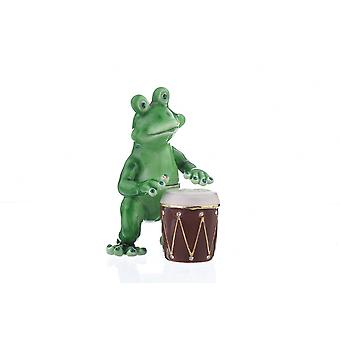 Frog Playing Drums Enamel Painted Jewelry Box