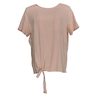 Anybody Women's Top Cozy Knit Side Tie T-Shirt W/ Pocket Pink A353777
