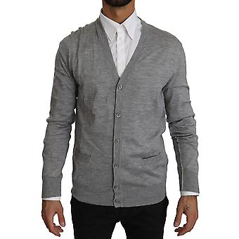 Pull en cachemire Dolce & Gabbana Gray Button Down Cardigan